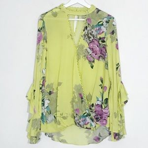 Oddy Neon Floral Flutter Sleeve Wrap Blouse L